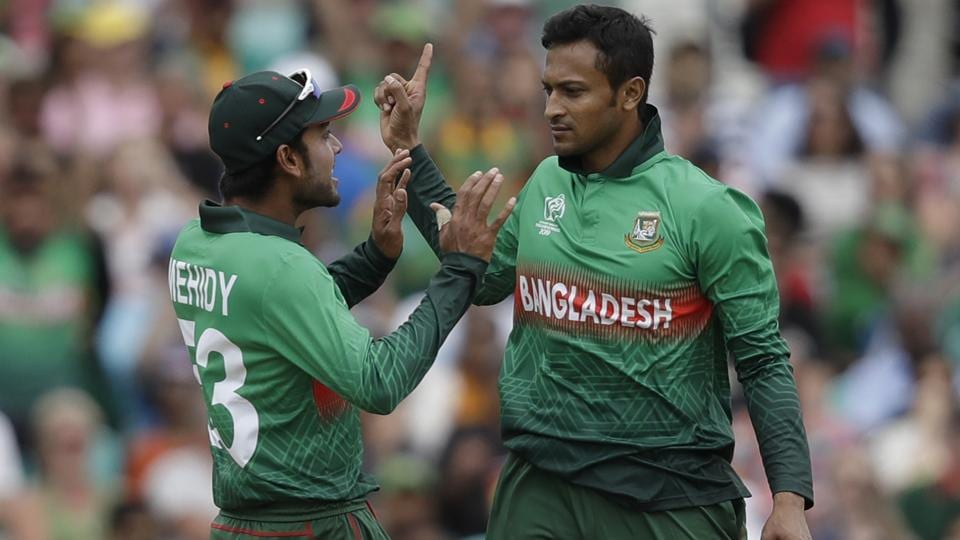 Bangladesh's Shakib Al Hasan, right, celebrates taking the wicket of South Africa's Aiden Markram. (AP)