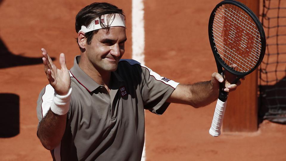 Switzerland's Roger Federer reacts after winning his fourth round match against Argentina's Leonardo Mayer.