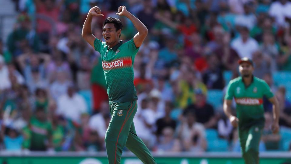 Bangladesh's Mustafizur Rahman celebrates the wicket of South Africa's David Miller. (Action Images via Reuters)