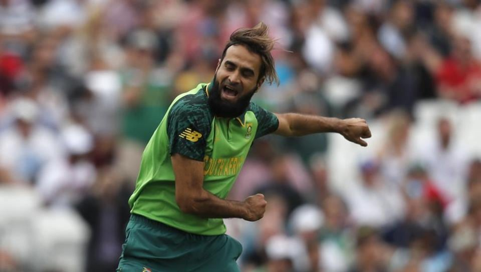 South Africa's Imran Tahir celebrates after taking the wicket of England's captain Eoin Morgan