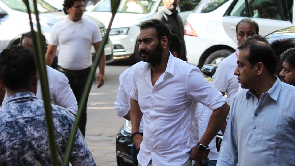 Ajay Devgn at a prayer meet of his father, late veteran action director Veeru Devgan, in Mumbai.
