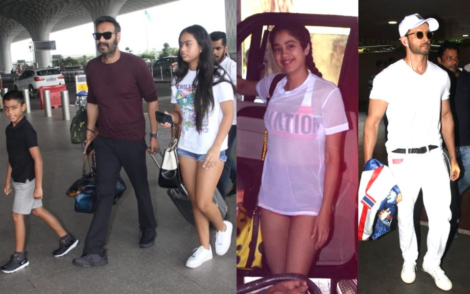 Ajay Devgn with kids Yug and Nysa (extreme left),  Janhvi Kapoor and Hrithik Roshan spotted in Mumbai.