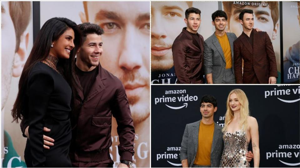 Priyanka Chopra and Sophie Turner posed with husbands Nick and Joe Jonas at the premiere of Chasing Happiness.