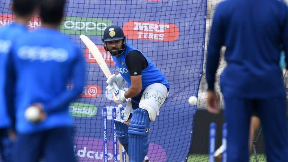 India's Rohit Sharma bats in the nets during a training session at the Rose Bowl in Southampton, southern England, on June 3, 2019 ahead of their 2019 Cricket World Cup match against South Africa