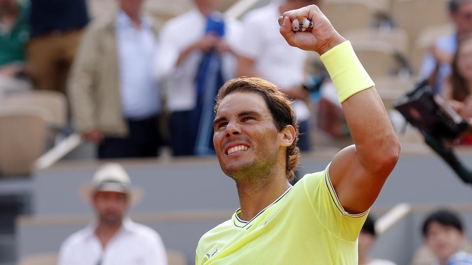 Spain's Rafael Nadal celebrates after his quarterfinal match against Japan's Kei Nishikori.