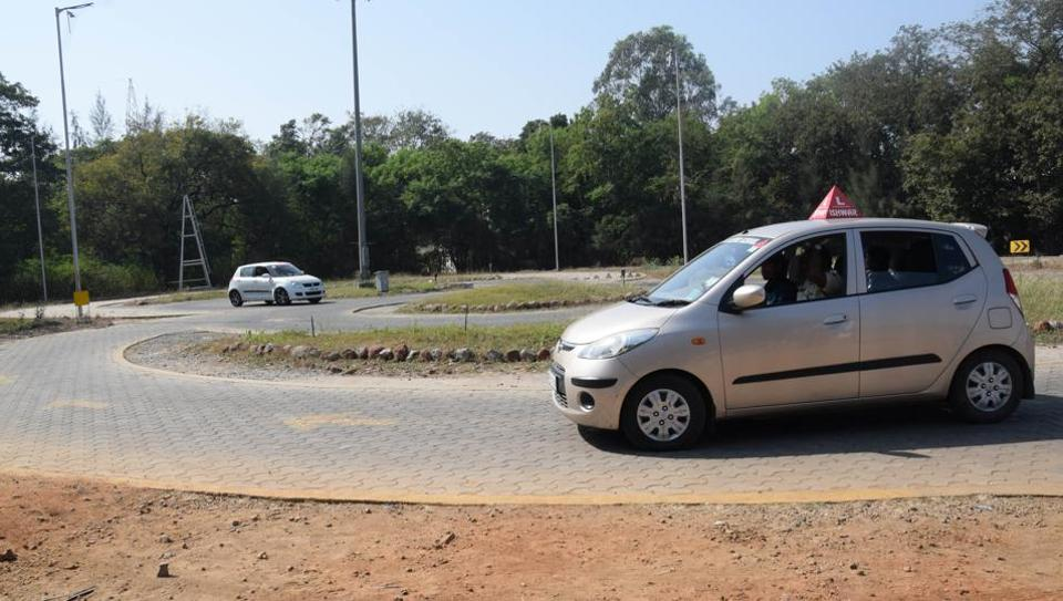 A driving test being conducted at Institute of Driving Training and Research, Bhosari on Monday.