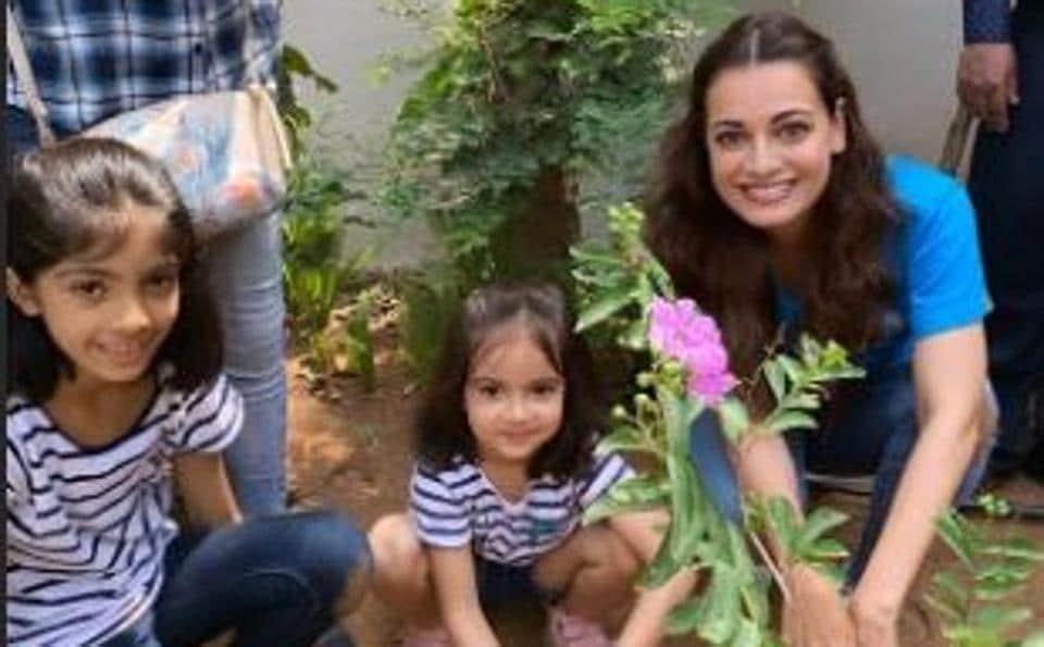 Actor Dia Mirza plants a sapling onWorld Environment Day (June 5).
