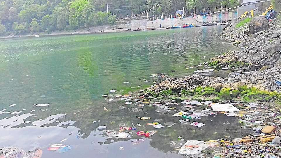 Garbage strewn Nainital lake, one of the main sources of drinking water of the city.