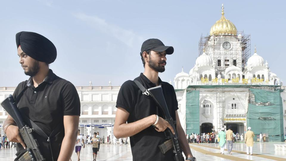 Punjab police Swat team stand guard on the eve of the 35th Operation Blue Star Anniversary outside Golden Temple in Amritsar on Wednesday.