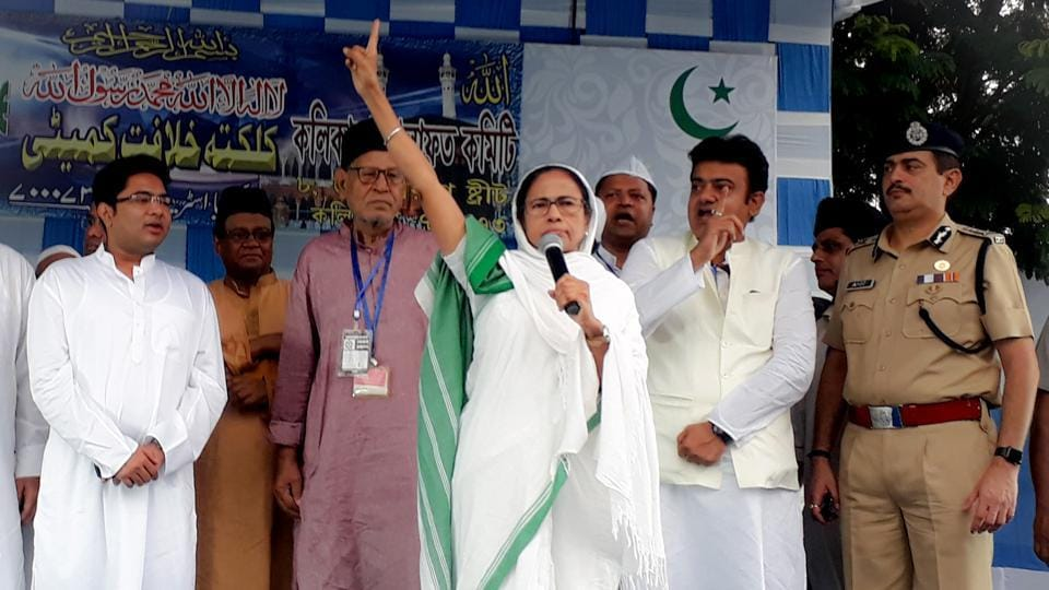 Chief Minister of West Bengal Mamata Banerjee addresses Eid prayers during the celebration of Eid-Al-Fitr at Red Road in Kolkata on Wednesday.