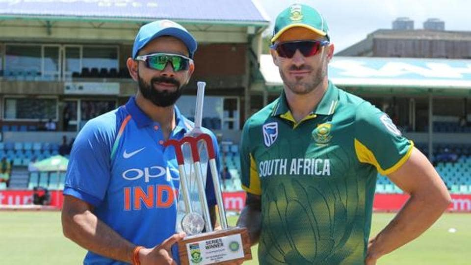 Virat Kohli (captain) of India and Faf du Plessis(c) of South Africa with the series trophy during the 1st One Day International match between South Africa and India held at Kingsmead Cricket Ground in Durban on the 1st feb 2018 Photo by Ron Gaunt / BCCI / SPORTZPICS