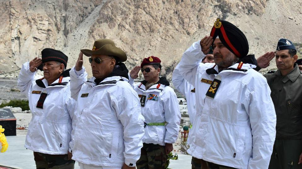 Defence Minister Rajnath Singh, Army chief General Bipin Rawat and Northern Army Commander Lt General Ranbir Singh paid tributes to the martyred soldiers who sacrificed their lives while serving in Siachen on Monday.
