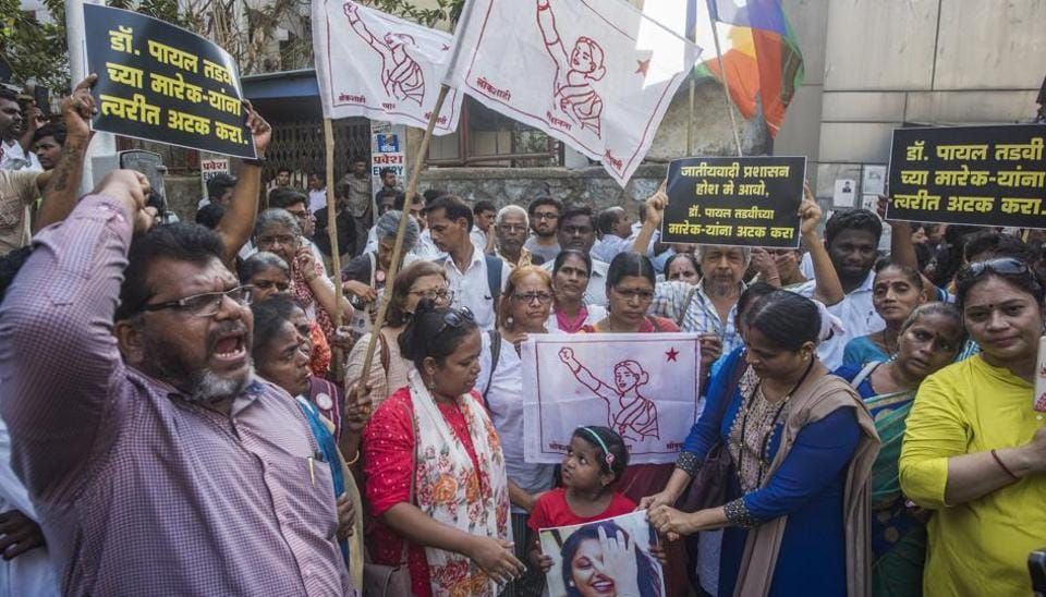Protest against the senior doctors of Nair Hospital for suicide of Dr Payal Tadvi who was harassed by her senior doctor outside Nair Hospital,Bombay Central in Mumbai on May 27, 2019.