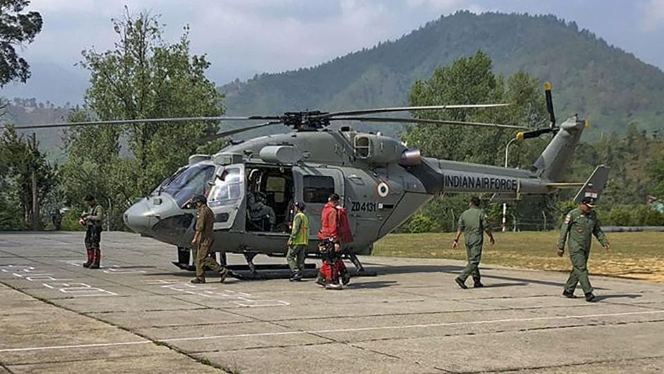 An IAF chopper prepares to carry out a rescue operation to evacuate bodies of climbers killed during mountaineering expedition to Nanda Devi east of Pithoragarh district, Wednesday, June 5, 2019.