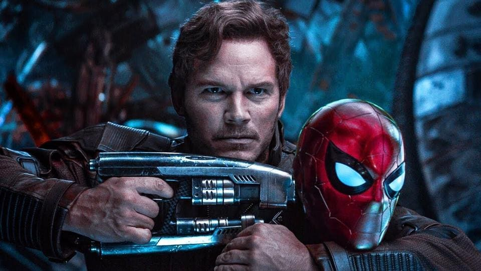 Chris Pratt as Star Lord and Tom Holland as Spider-Man in a still from Avengers: Infinity War.