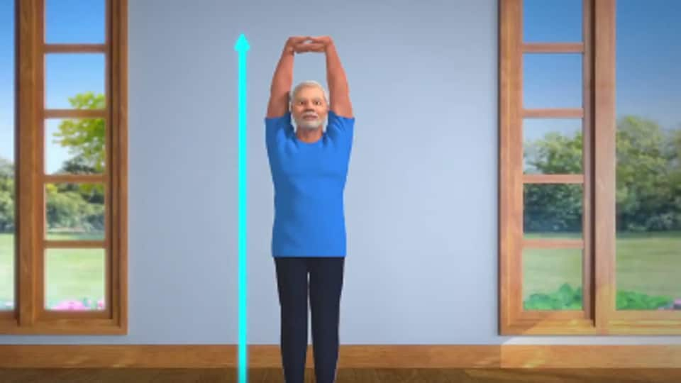 Modi had tweeted a similar animated video on Wednesday morning performing the trikonasana or the triangle pose.