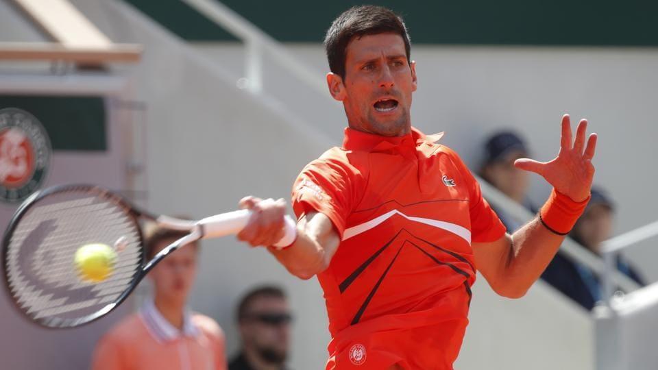 Serbia's Novak Djokovic in action during his quarterfinal match against Germany's Alexander Zverev.