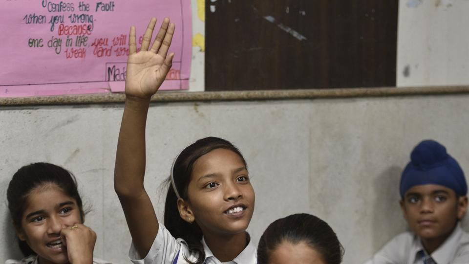 New Delhi, India - Aug. 21, 2018: Students listening to the teacher in the classroom during Happiness Class, an initiative of Delhi Government in every government school till 8th class at Kautilya Government Sarvodaya Bal Vidyalaya, Chirag Enclave, in New Delhi, India, on Tuesday, August 21, 2018. (Photo by Sanchit Khann a/ Hindustan Times) **To go with Manoj Sharma's Story