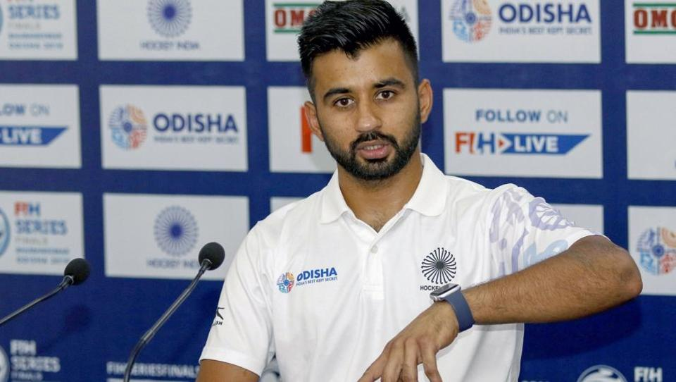 Indian hockey team captain Manpreet Singh during a press conference in Bhubaneswar.