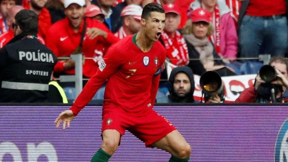 Portugal's Cristiano Ronaldo celebrates scoring their first goal.
