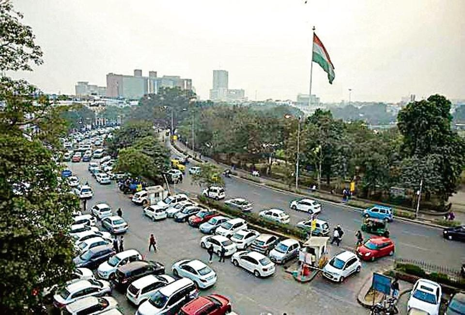 An aerial view of Connaught Place inner circle in New Delhi
