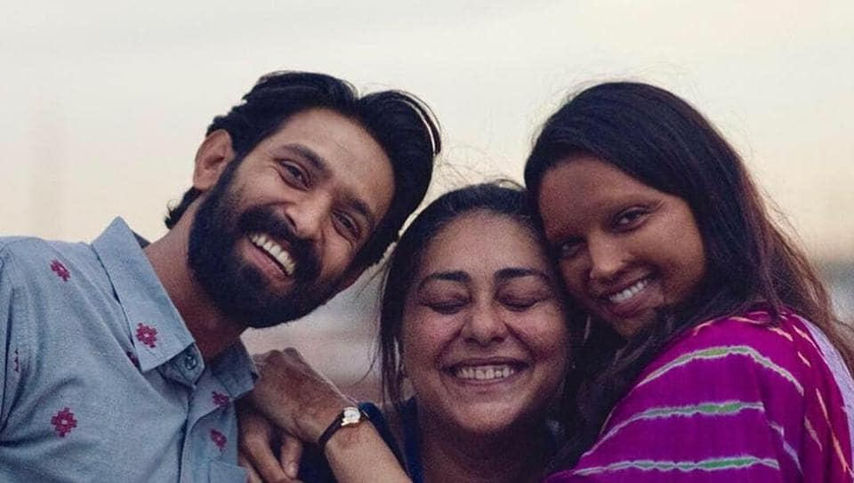 Deepika Padukone and Vikrant Massey share a hug with Meghna Gulzar as they wrap up the shoot of Chhapaak.