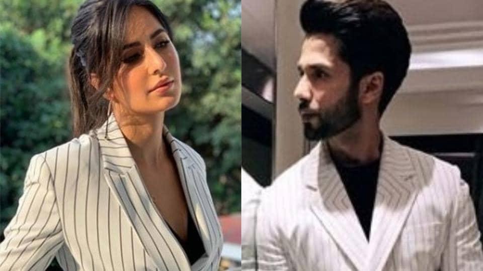 Shahid Kapoor and Katrina Kaif wear similar pantsuits.