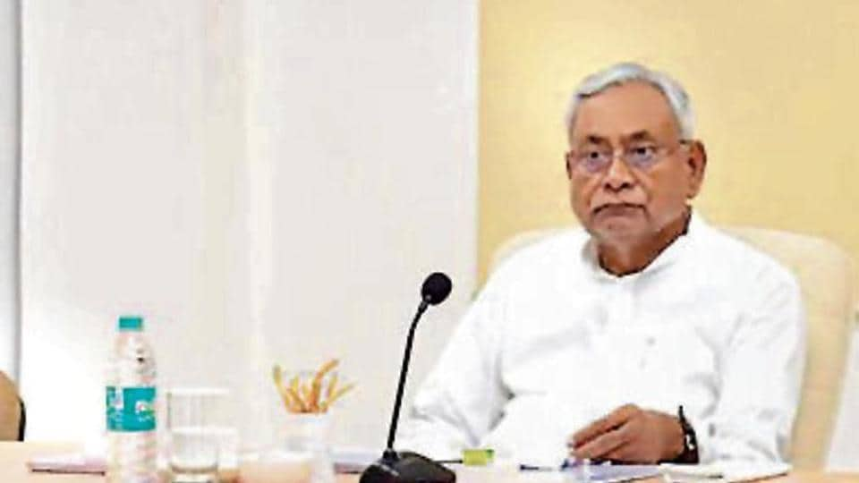 CM Nitish Kumar at the crime review meeting in Patna.