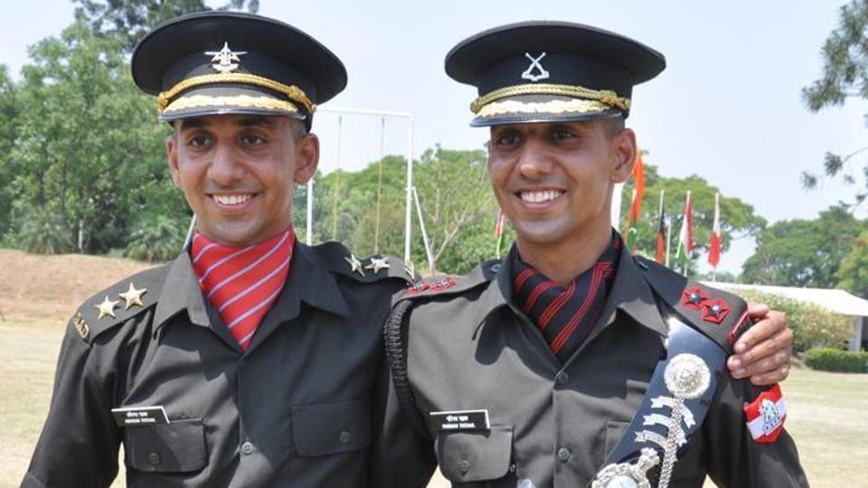 (L-R)Twin Brothers Abhinav Pathak (left) and Parinav Pathak during passing out parade at IMA in Dehradun on Saturday June 08, 2019. (Photo by Vinay Santosh Kumar/HT)