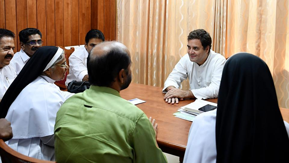 Congress President Rahul Gandhi meets a delegation at MPs Facilitation Centre in Wayanad on Saturday.