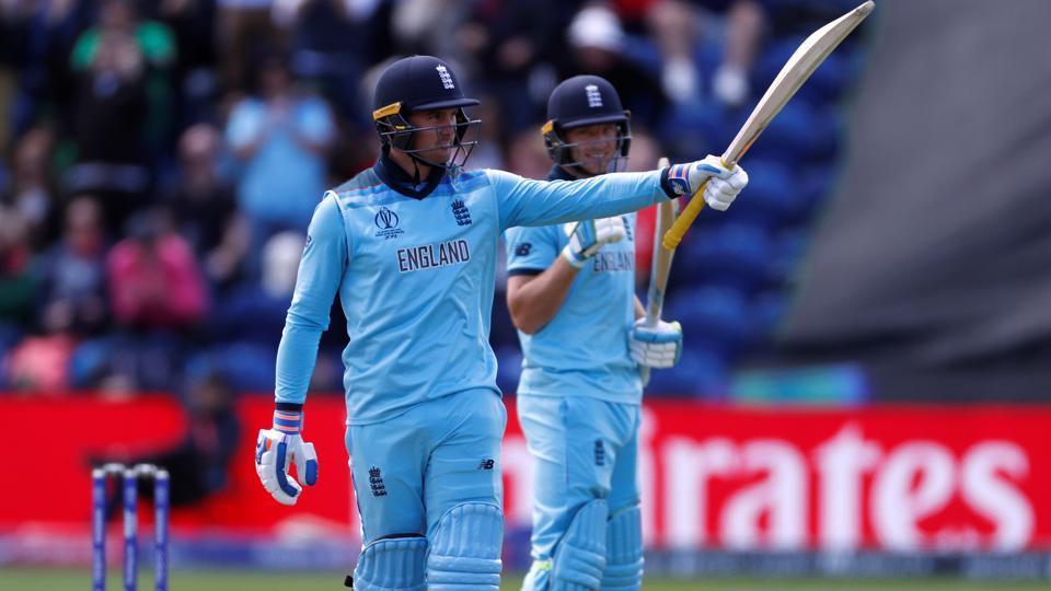 England's Jason Roy celebrates reaching 150 runs.