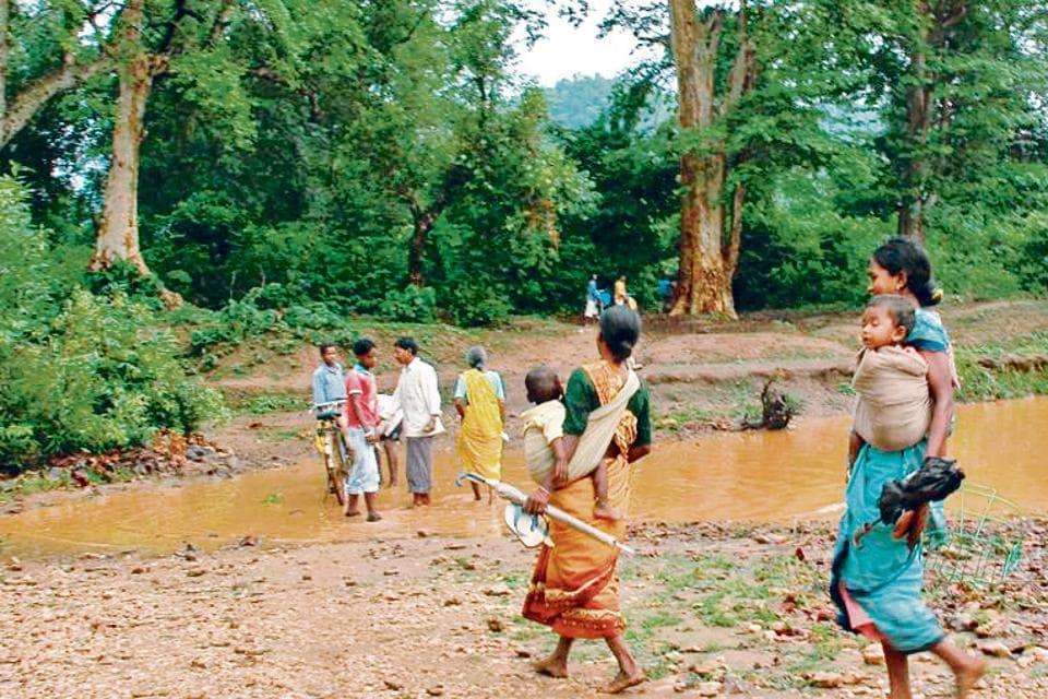 Villager's crossing dense Saranda Forest to reach their village Digha.
