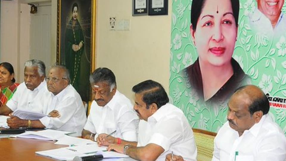 Tamil Nadu chief minister Edappadi K Palaniswami and his deputy, O Panneerselvam, have been running the government as well as the party as AIADMK's co-conveners. (Photo:AIADMK Twitter)