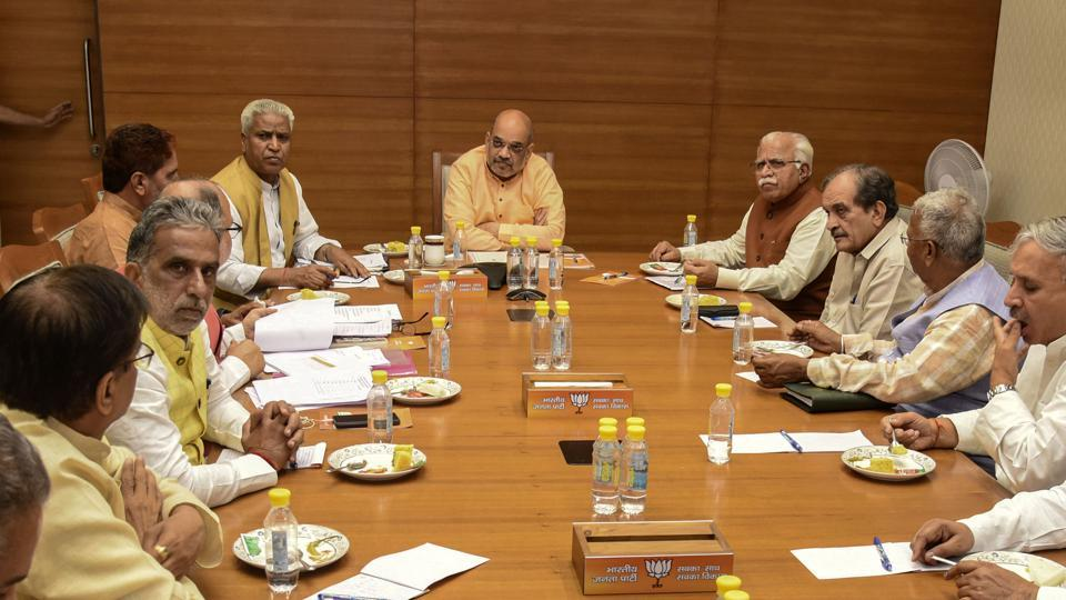 Union home minister and BJP president Amit Shah holds a meeting with BJP leaders of Haryana, Maharashtra and Jharkhand ahead of assembly elections, at party office in New Delhi.