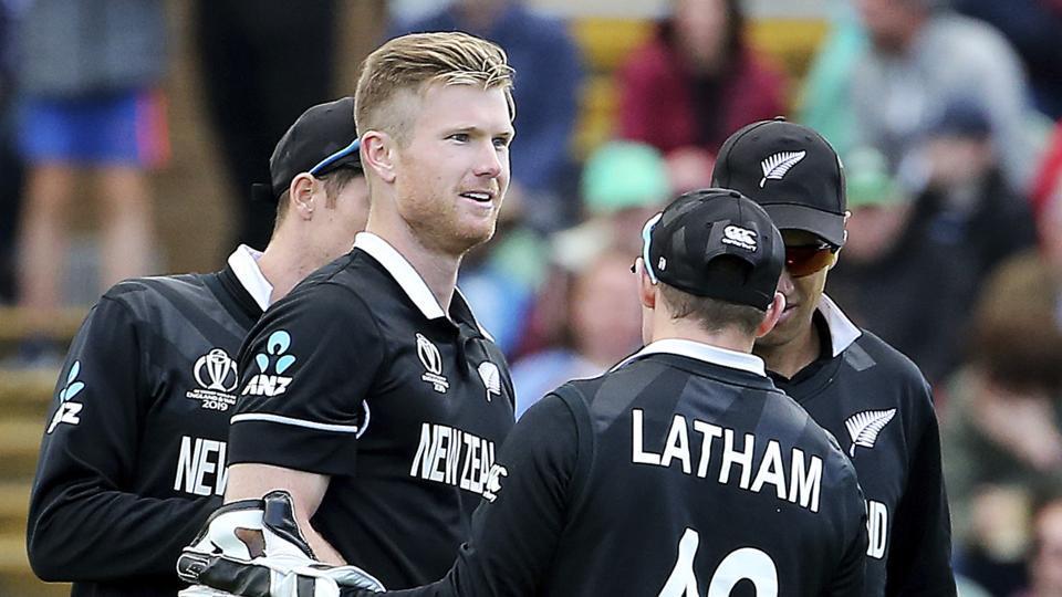 New Zealand's James Neesham, 2nd left, celebrates taking the wicket of Afghanistan's Najibullah Zadran with Wicket Keeper Tom Latham. (AP)