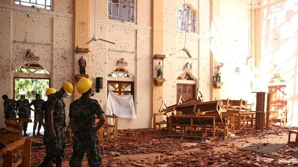 A view of the damage at St. Sebastian Catholic Church, after bomb blasts ripped through churches and luxury hotels on Easter, in Negambo, Sri Lanka April 22, 2019.