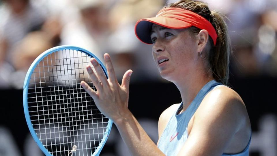 Russia's Maria Sharapova looks on during the match against Australia's Ashleigh Barty.