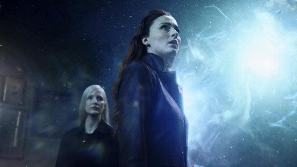 This image released by Twentieth Century Fox shows Sophie Turner and Jessica Chastain, left, in a scene from Dark Phoenix.