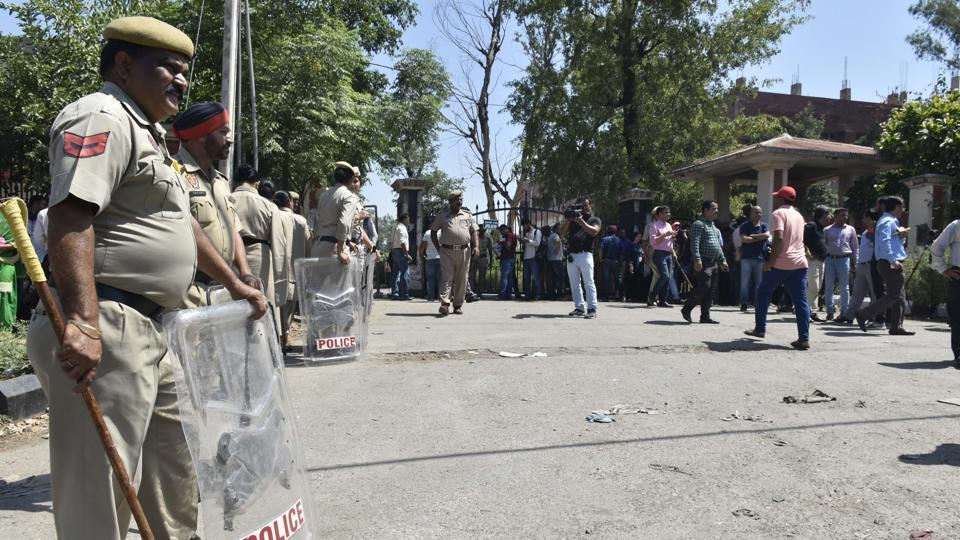 June 10, 2019: Police personnel deployed outside district court complex at Pathankot, Punjab on Monday, June 10, 2019.
