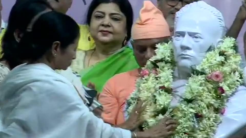 West Bengal Chief Minister Mamata Banerjee on Tuesday unveiled a bust of Ishwar Chandra Vidyasagar at the Hare School ground.
