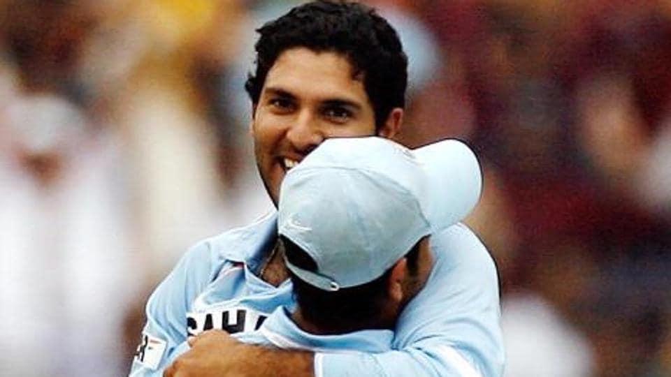 Rohit Sharma with Yuvraj Singh