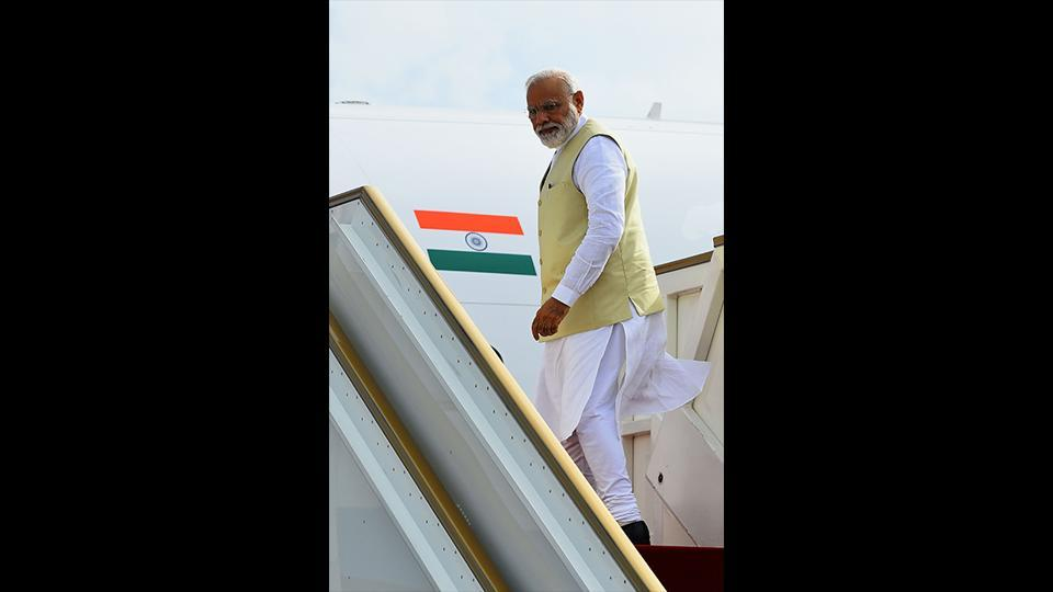 Pakistan decided in principle to let Prime Minister Narendra Modi's aircraft fly over its airspace to Bishkek in Kyrgyzstan where he has to attend the Shanghai Cooperation Organisation (SCO) summit on June 13-14, where his Pakistani counterpart Imran Khan would also be present. (Ishara S. Kodikara / AFP)