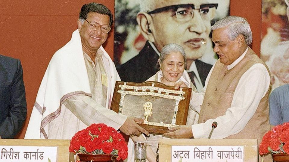 Former Prime Minister Atal Bihari Vajpayee presents the Jnanpith Award to Girish Karnad on March 27, 1999, in New Delhi. During his lifetime Karnad was recognized many times for his work in art and culture with honours such as the Padma Shri (1974),  the Padma Bhushan (1992) and several National Film Awards. (HC Tiwari / HT Archive)