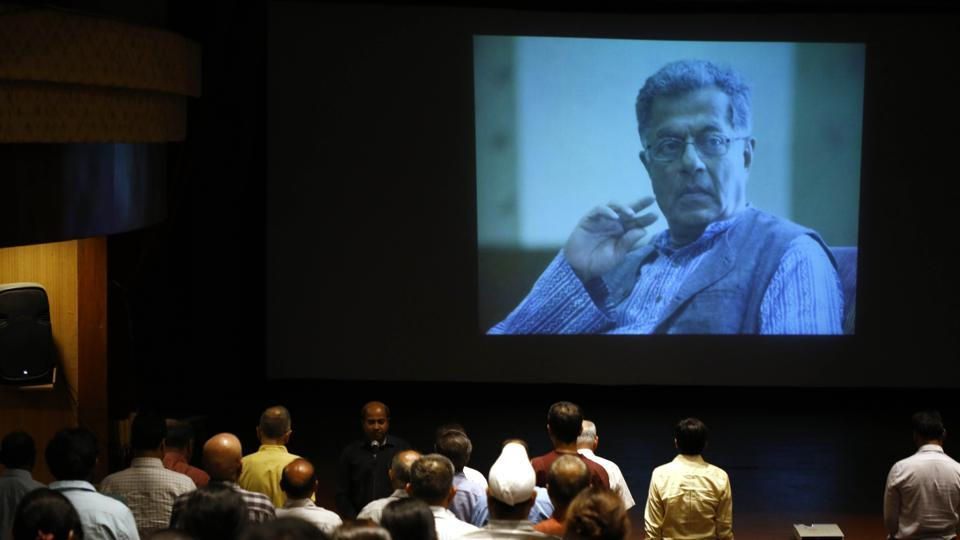 FTII students and staff paying condolences to the late Actor Girish Karnad at FTII in Pune, India.