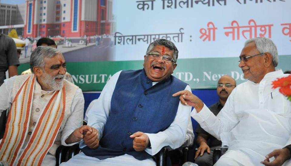 Bihar Chief Minister Nitish Kumar with Union Ministers Ravi Shankar Prasad and Ashwani Chaubey after laying the foundation stone for five hundred bed hospital at IGIMS campus in Patna   on Tuesday.