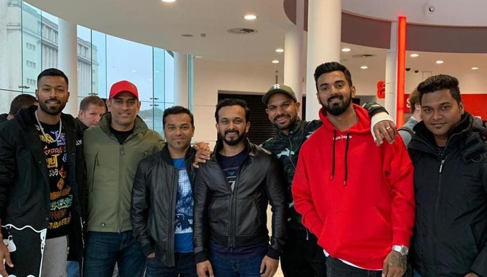 A post-screening picture of the Indian cricketers including MS Dhoni, Hardik Pandya and KL Rahul who watched Salman Khan's Bharat in England.