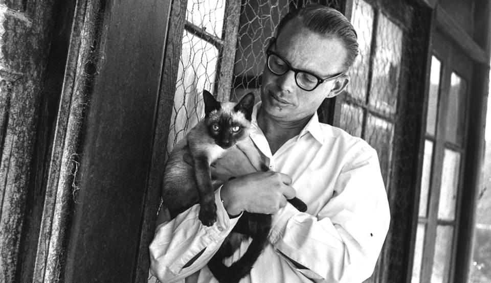 A youthful Ruskin Bond with his cat.