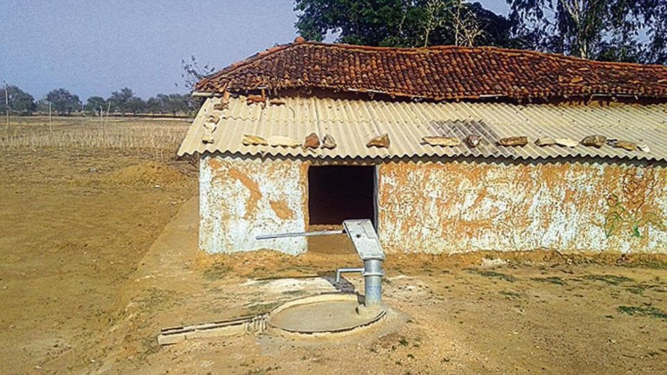 A dried-up hand pump at Ghorawal village in Sonbhadra.