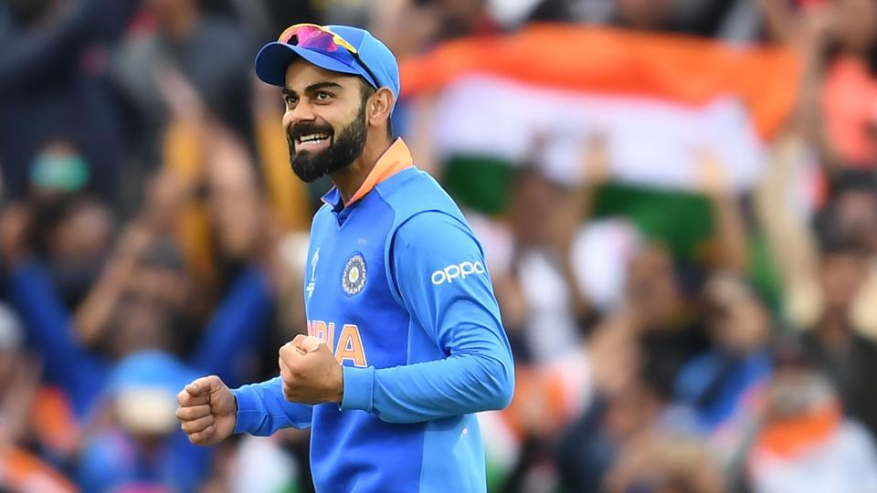 India's captain Virat Kohli celebrates after victory in the 2019 Cricket World Cup group stage match between India and Australia at The Oval in London on June 9, 2019
