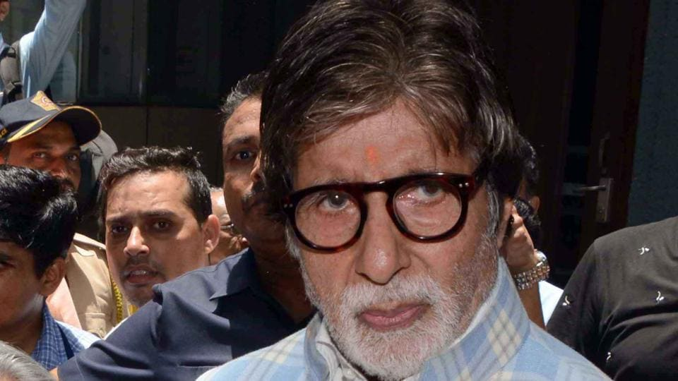 Amitabh Bachchan casts his vote at a polling station for the fourth phase of India's general elections in Mumbai.